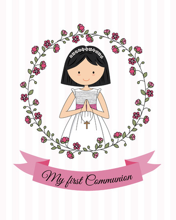 My first communion girl. beautiful girl praying and flower frame