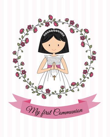 我的第一个圣餐女孩。美丽的女孩祈祷和花框架
