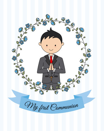 My first communion boy. Boy with communion suit and flower frame