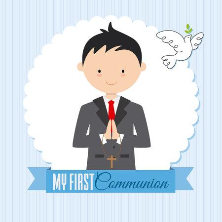 My first communion boy. Card boy praying and a pigeon flying.