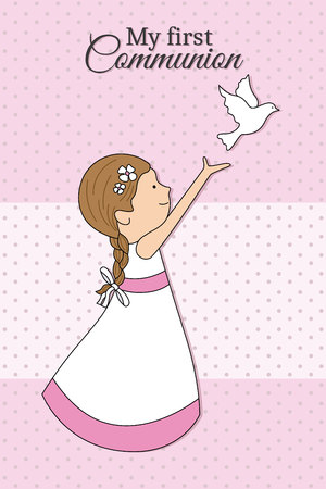 My first communion girl. girl dressed in communion with a pigeon