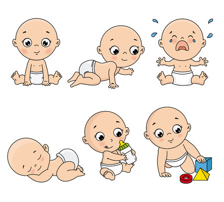 Baby set in different poses such as standing, sitting, crying, playing, crawling. vector isolated
