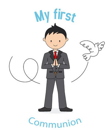 My first communion boy. Card boy praying and a pigeon flying Vectores