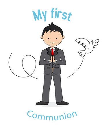 My first communion boy. Card boy praying and a pigeon flying Illustration