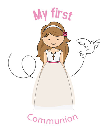 My first communion girl. girl dressed as a communion Ilustrace