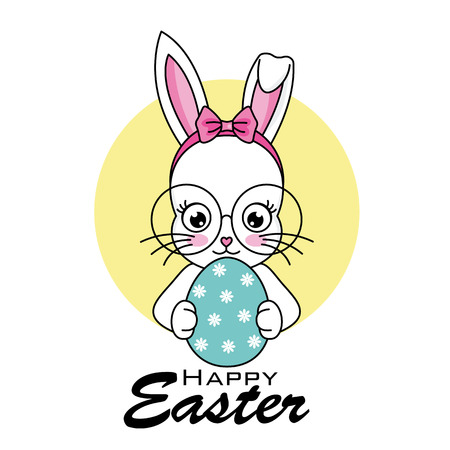 Happy easter card. hipster bunny with glasses with easter egg  イラスト・ベクター素材