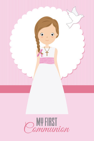My first communion girl or pretty girl with communion dress and white dove