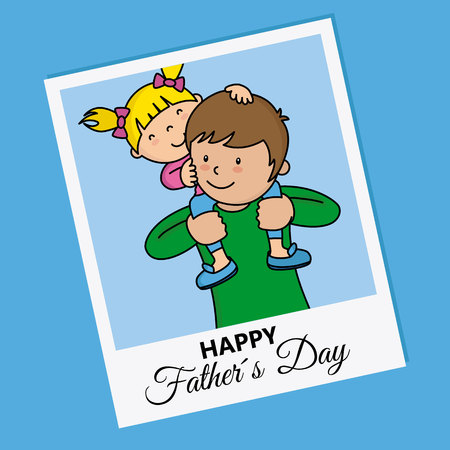 happy fathers day vector illustration of a girl sitting on a man's shoulders Archivio Fotografico - 97390305