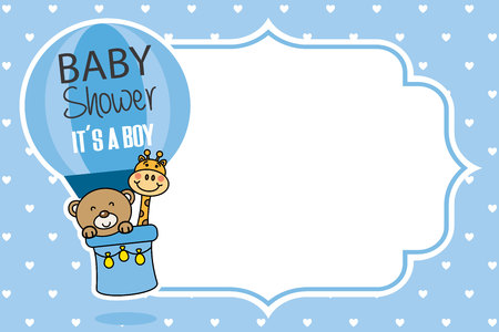 Baby shower card with it's a boy announcement and a bear and giraffe flying in a balloon.