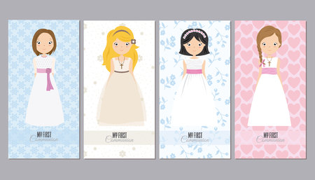 Set of four pretty girls in communion dresses with flowers and hearts Illustration