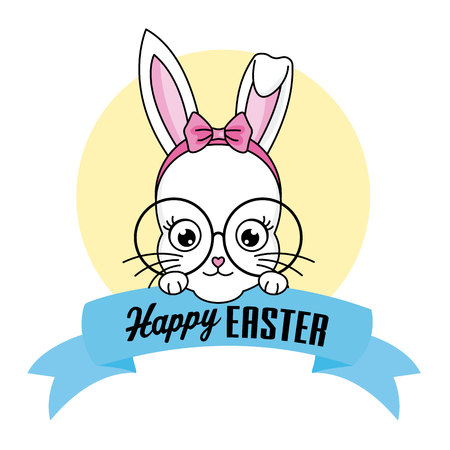 Happy Easter card. Hipster bunny girl with glasses and tie