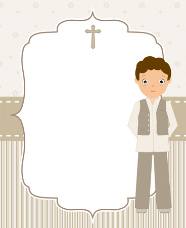 My first communion boy with space for text Vectores