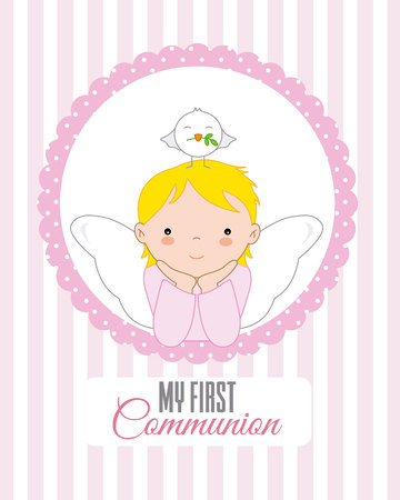 angel with dove on top of his head. Christening or communion card template vector illustration