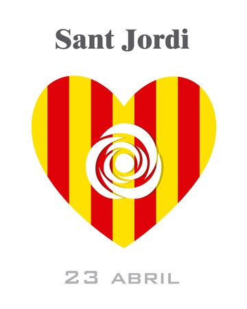 Sant Jordi. Traditional festival of Catalonia with Spain flag. Illustration