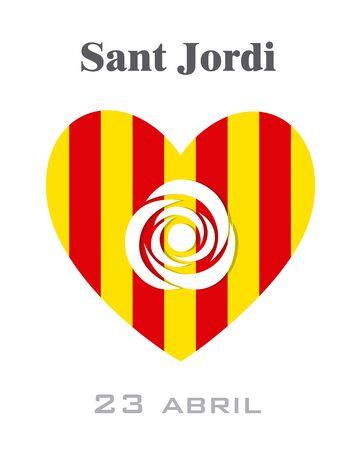 Sant Jordi. Traditional festival of Catalonia with Spain flag. Illustration