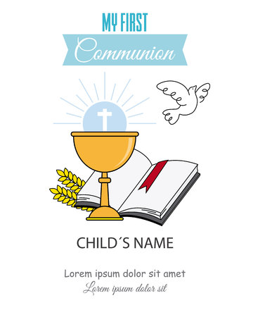 Card my first communion invitation. chalice with bible and dove of peace