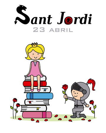A princess, knight and dragon. Catalonia traditional celebration. Saint Jordi
