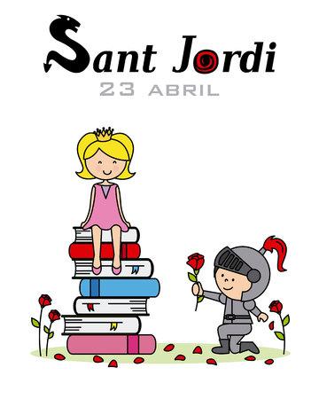 A princess, knight and dragon. Catalonia traditional celebration. Saint Jordi