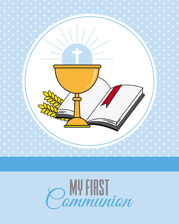 Card my first communion invitation with chalice  and Bible on blue background. Vectores