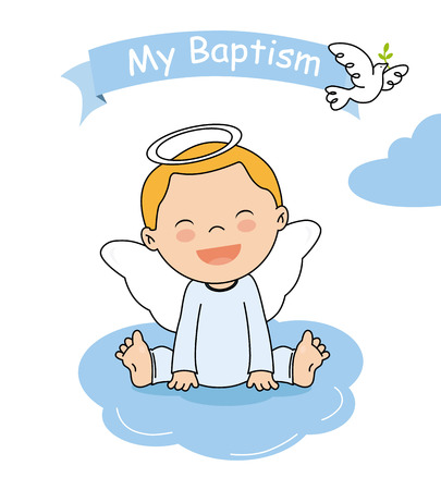 baptism invitation card. Smiling angel boy sitting on a cloud