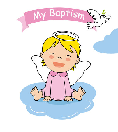 baptism invitation card. Smiling angel girl sitting on a cloud