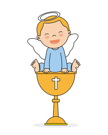 baptism invitation card. Smiling angel boy sitting on a calyx