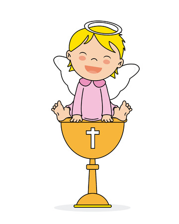 baptism invitation card. Smiling angel girl sitting on a calyx Vettoriali