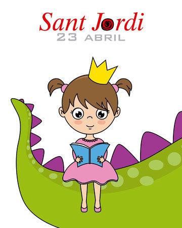 Sant Jordi.Catalonia traditional celebration.princess lire un livre assis sur la queue d'un dragon Banque d'images - 99561916