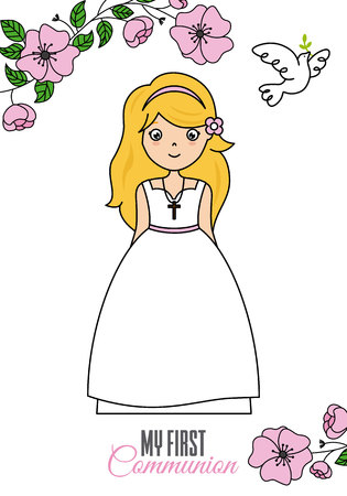 First communion of girl and floral card with dove. Illustration