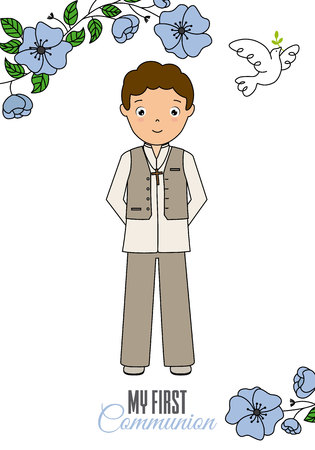 my first communion boy. floral card with dove
