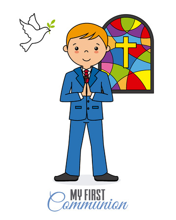 My first communion. Boy praying in church Illustration