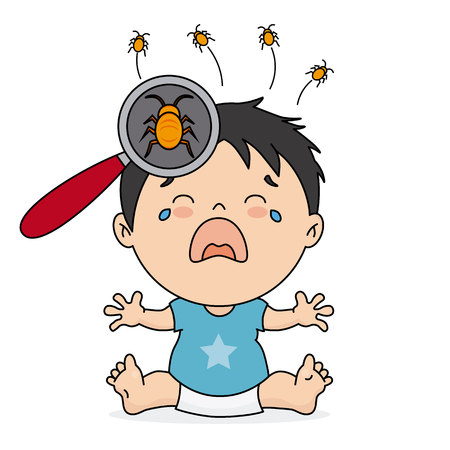 baby boy crying because she has lice Illustration