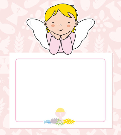 communion card. angel girl with wings on top of poster. space for text