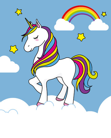 pretty unicorn card above the clouds, star and rainbow