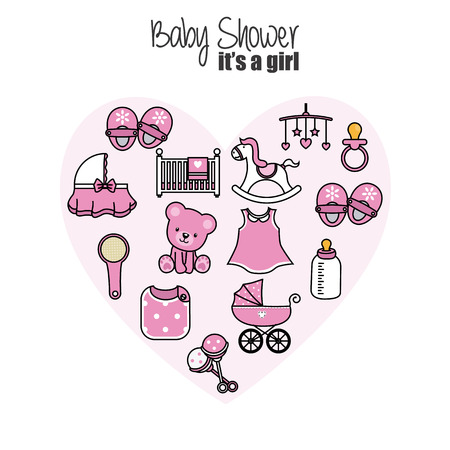 baby shower card. baby girl icons. Accessories, clothes and toys