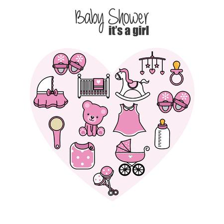 tarjeta de baby shower. iconos de niña bebé. Accesorios, ropa y juguetes Ilustración de vector