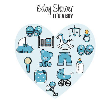 baby shower card. baby boy icons. Accessories, clothes and toys Çizim
