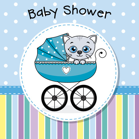baby shower. Baby boy inside baby carriage. Illustration