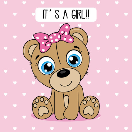 baby shower card. cute bear with a pink bow Illustration