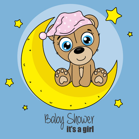 baby shower girl. bear with nightcap sitting on the moon