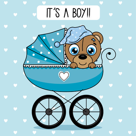 baby shower boy. bear inside baby cart