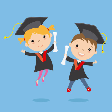graduation children. vector isolated