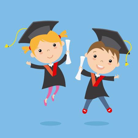 graduation children. vector isolated