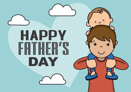 Glücklicher Vatertag . Kleiner Junge , der auf den Schultern von Papst klettert Standard-Bild - 103035599