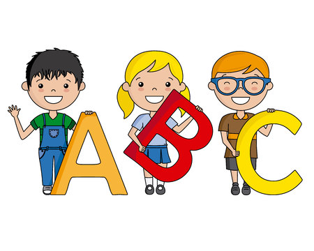 happy children with numbers. Vector isolated