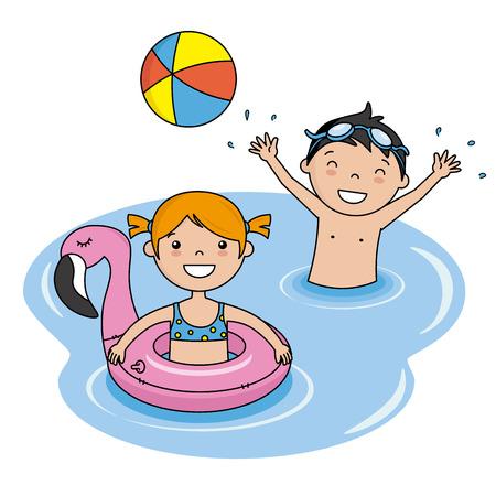 ビーチで入浴している子供たち。小さな女の子とボールを遊んで子供