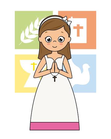 La mia prima carta di comunione. Pregando ragazza con icone religiose dietro
