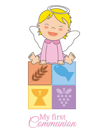 first communion card. Angel girl