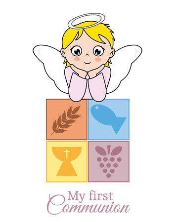 first communion card. Angel girl
