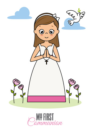 my first communion girl. Praying girl Illustration